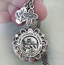 Patron Saint of Miscarriages Locket Necklace, St. Catherine of Sweden, Get Well Gift, Healing Prayer Jewelry