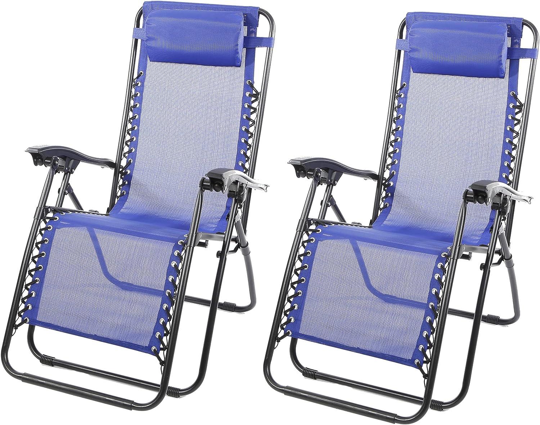 Silla Tumbona Exterior Hamaca Plegable para Playa, jardín, terraza - 2 uds - Hamaca Multiposiciones de Metal con cojín reposacabeza. (Azul)