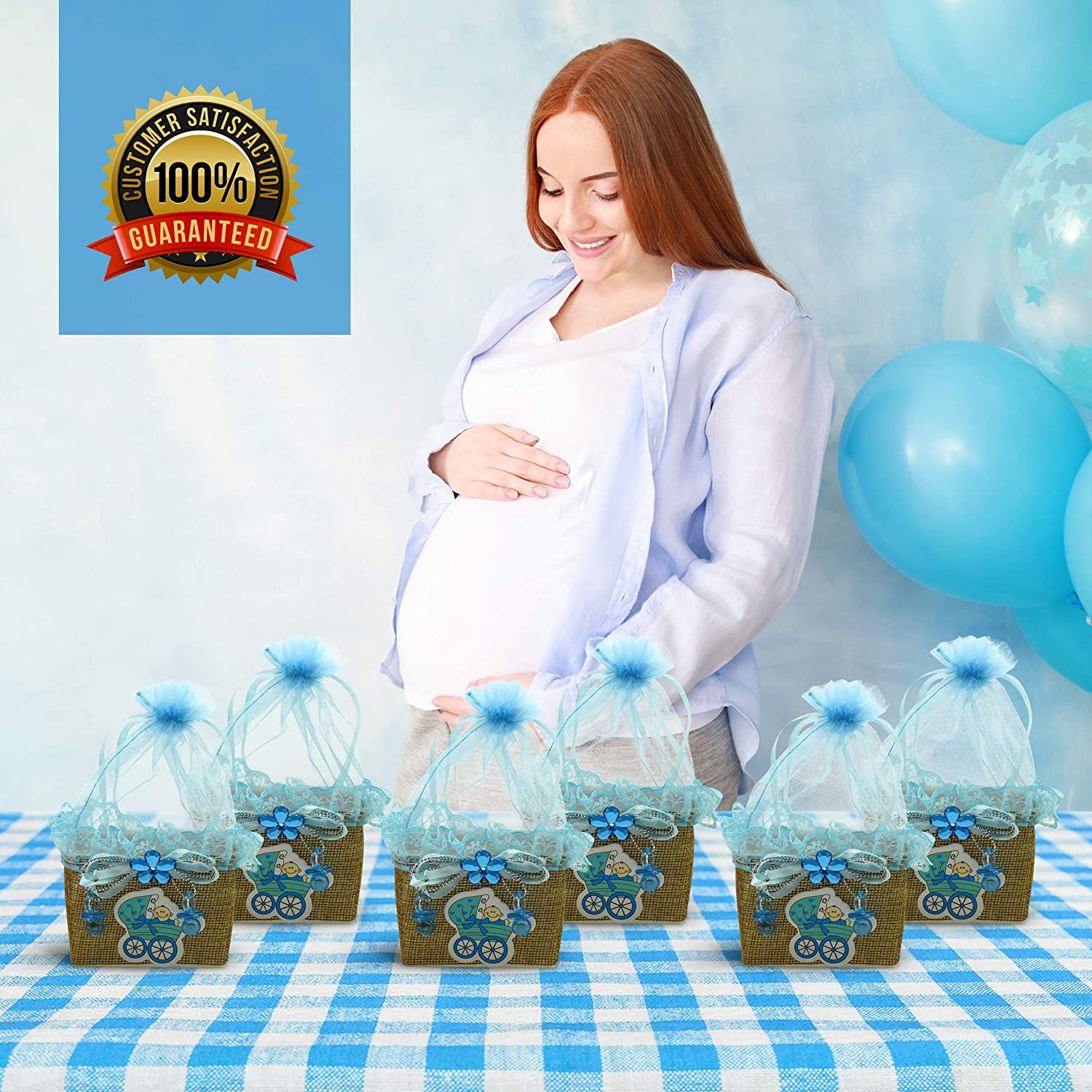 and Gifts Prizes 6 Pack Sparkly Carriage Your Favorite Moments Mini Baskets: Baby Boy Shower Favors for Candy Blue Party Favor Boxes with Sheer Drawstring Bags