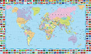 Gifts Delight World Map Poster with Country Flags - 48x24 Inches Laminated (HD), Durable & Tear Resistant   Political Country Flags Home Wall Map Picture Home Decor Globe Atlas Earth Geography Mural
