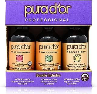 PURA D'OR Organic Carrier Oil 3-piece Set 4 fl oz (Castor Oil, Argan Oil, Rosehip Seed Oil) Anti-Aging Moisturizing Treatments for Face, Hair, Skin & Nails, Men & Women