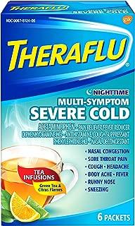 Theraflu Nighttime Multi-Symptom Severe Cold Packets Lipton Green Tea & Citrus Flavors - 6 ct, Pack of 5