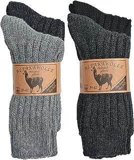 SPITZE SOCKS, 4 pares de calcetines de lana de alpaca para hombre y mujer, la cintura cómoda original, grueso y cálido, 3 combinaciones de colores, 4 tamaños, fabricado en Europa
