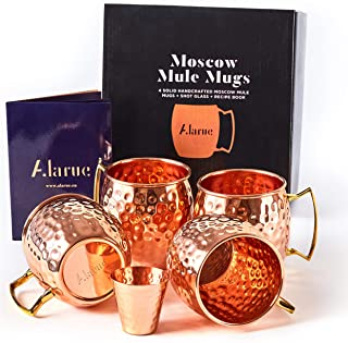 Moscow Mule Copper Mugs Set - 4 Authentic Handcrafted Mugs (16 oz.) with Shot Glass (2 oz.) - Food Safe Pure Solid Copper ...