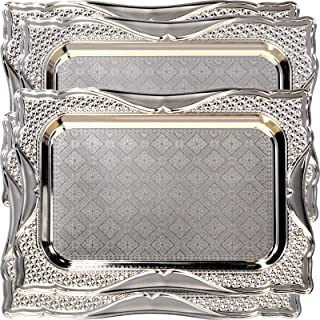 Maro Megastore (Pack of 4) 14.2-Inch x 10.2-Inch Rectangular Chrome Plated Serving Tray Edge Brick Pattern Engraved Decorative Wedding Birthday Buffet Party Dessert Food Snack Platter 2607 S Ts-105