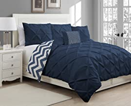 Avondale Manor 5-Piece Ella Pinch Pleat Duvet Set, King, Navy