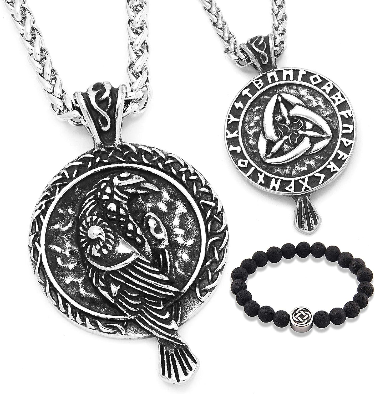 GUNGNEER Irish Raven Celtic Knot Pendant Necklace Keel Chain Wisdom Strength Protection 20