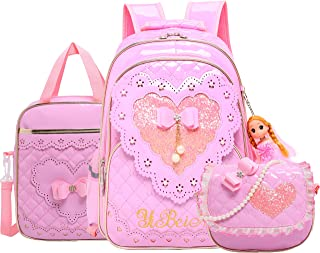 Girls Backpack Set 3 in1 School Backpack for Girls Elementary Kids Bookbag