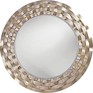 Howard Elliott 2140 Cartier Round Mirror, 46-Inch, Silver Leaf