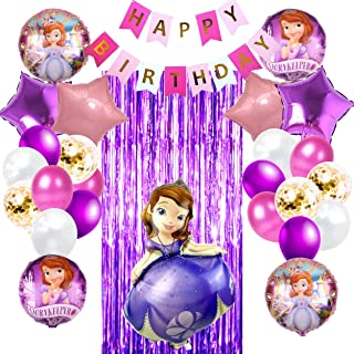 Sofia The First Theme Party Supplies Set Balloons | Includes Purple Party Curtain, Birthday Banner and Lovable Balloons| P...