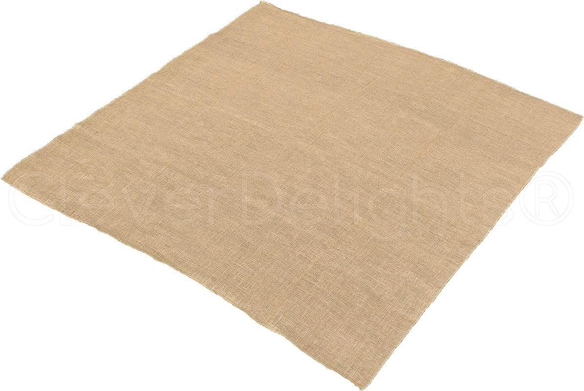 10 Pk CleverDelights Square Burlap Tablecloth 60 X 60 Premium Jute Burlap Overlay Finished Edge
