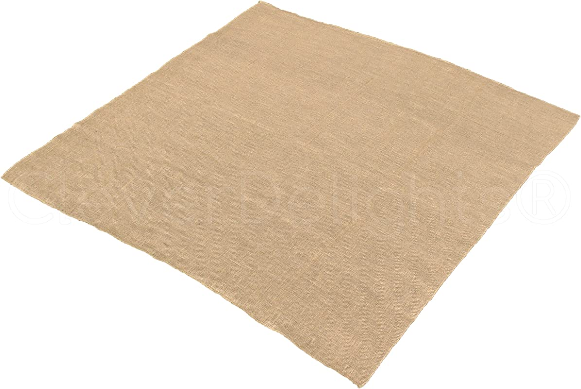 CleverDelights Square Burlap Tablecloth 60 X 60 Premium Jute Burlap Overlay With No Fray Finished Edges