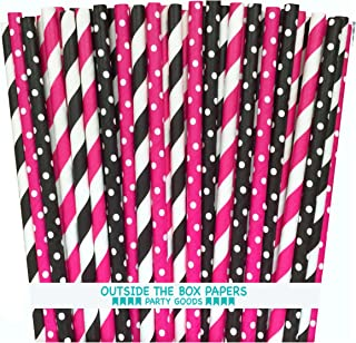 Outside the Box Papers Diva Theme Stripe and Polka Dot Paper Straws 7.75 Inches 100 Pack Hot Pink, Black, White