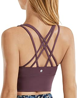 CRZ YOGA Strappy Sports Bras for Women Longline Wirefree Padded Medium Support Yoga Bra Top