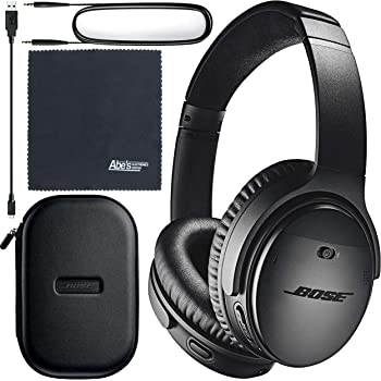 Bose QuietComfort 35 Series II Wireless Noise-Canceling Headphones (Black) (789564-0010) + AOM Bundle - International Version (1 Year AOM Warranty)