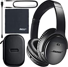 Bose QuietComfort 35 Series II Wireless Noise-Canceling Headphones (Black) (789564-0010) + AOM Bundle - International Vers...