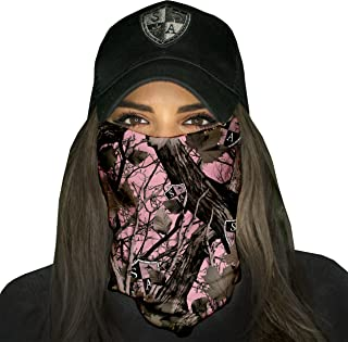 1 UV Face Shield - Pink Forest Camo - Multipurpose Neck Gaiter, Balaclava, Elastic Face Mask for Men and Women
