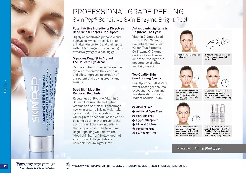 SkinPep SkinPep Gel pelador de piel sensible (2 x 7 ml) + enzimas de piña y papaya + péptidos + vitamina C - Gel pelador de grado profesional SkinPep ...