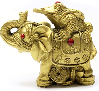 """Cafolo 3"""" Gloden Toad Frog Kneeling Coin on Back of Elephant Figurine with Red Rhinestone for Good Fengshui Wealth and Fortune Great Home Decor (1 Set)"""