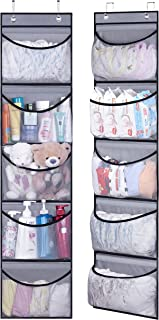 KEETDY Over The Door Organizer Storage for Closet with 5 Pockets Organizer for Bedroom Bathroom, 2 Pack(Grey)