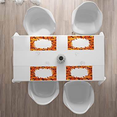 Lunarable Thanksgiving Place Mats Set of 4, Cartoon Style Circular Frame with Orange Pumpkin and Dry Leaves, Washable Fabric Placemats for Dining Table, Standard Size, Dark Orange