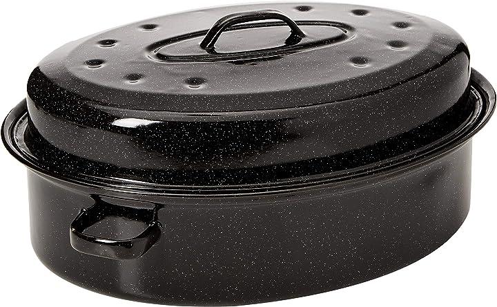 Casseruola da forno in acciaio con coperchio che trattiene l`umidità, romano, nero, metallo, 38 cm BW07215