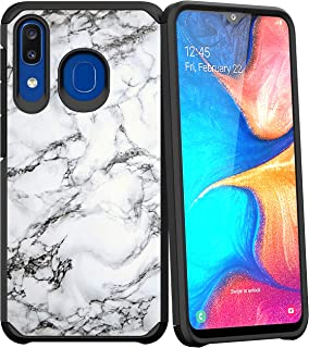 Compatible with Samsung Galaxy A20 / Samsung Galaxy A30 / Samsung Galaxy A50 | Rugged Hybrid Dual Layer Defender Shock Bumper Case by Untouchble - White Marble
