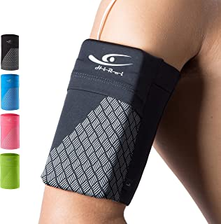 HiRui Universal Comfort Sports Armband Cell Phone Armband Running Armband, Fits All Phones, Reflective Stripes Logo, Unisex, Suitable for Travel Sport Outdoors (Large, Black)