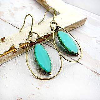 Wire Hoop Earrings with Turquoise Glass Bead-Boho Dangle Earrings For Women