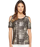 Calvin Klein - Foiled Metallic Cold Shoulder Top