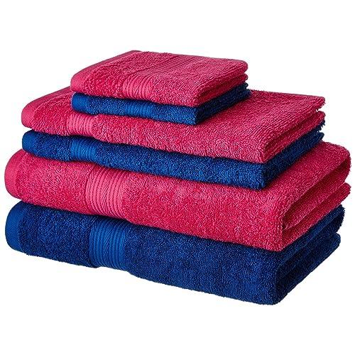 Amazon Brand - Solimo 100% Cotton 6 Piece Towel Set, 500 GSM (Iris Blue and Paradise Pink)