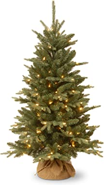 National Tree Company Pre-lit Artificial Mini Christmas Tree | Includes Small Lights and Cloth Bag Base | Great For Tabletop or Desk | Burlap - 4 ft