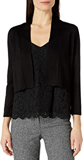Women's 3/4 Sleeve Sheer Stripe Shrug with Self Banding and Cuff