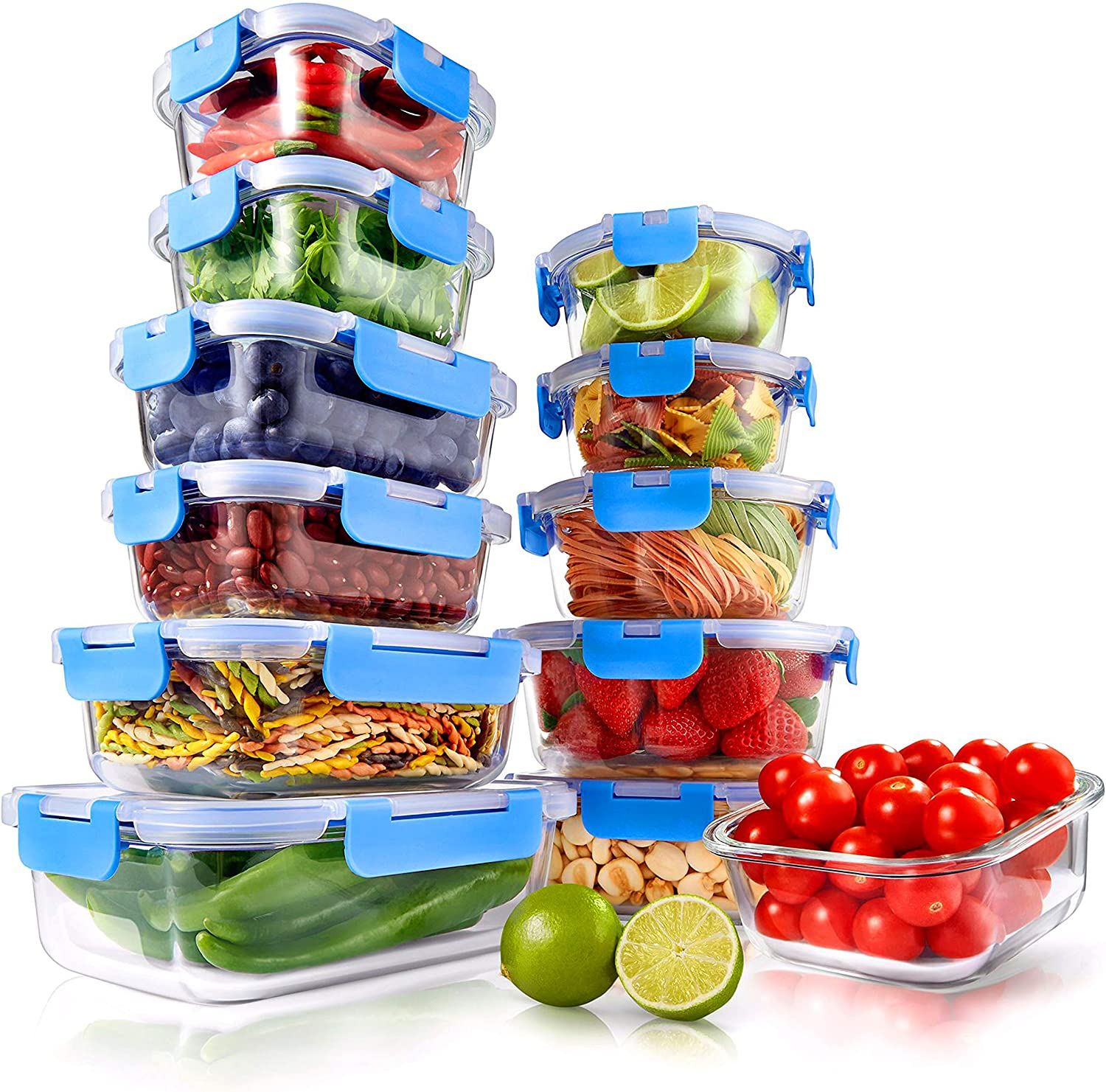 24-Piece Glass 新品■送料無料■ Food Storage Containers Glas Superior - Stackable お得セット