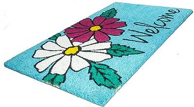 "Entryways Floral Welcome Non- Slip Coconut Fiber Doormat 17"" X 28"" X .5 """