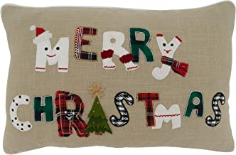 """Saro Lifestyle Ariadne Collection Whimsical Merry Christmas Throw Pillow With Poly Filling, 14"""" x 22"""", Natural"""