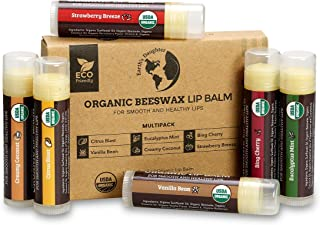 USDA Organic Lip Balm 6-Pack by Earth's Daughter - Fruit Flavors, Beeswax, Coconut Oil, Vitamin E - Best Lip Repair Chapst...