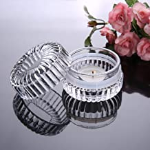 Ritayedet Tealight Candle Holder, 3 oz Candy Dish with Lids, Glass Candle Jars for Candle Making, Set of 6