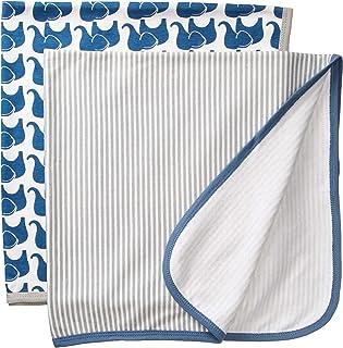 Hudson Baby Unisex Baby Cotton Swaddle Blankets, Boy Elephant, One Size