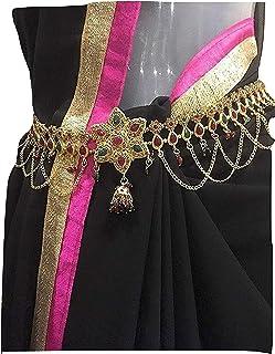 XLDreams White Kundan Single Piece Waist Chain/Kamarband for Women
