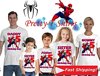 Spider Man Birthday Shirt, We Add Any Name and Age on It, Family Birthday Shirts, Spider Man Birthday Shirt, Spiderman Party Favor, Custom Spiderman Shirt, Super Hero Shirt, Visit Our Shop