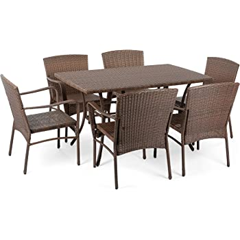 W Unlimited Leisure Collection Outdoor Garden Patio 7-PC Dining Furniture Set, Dark Brown