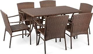 W Unlimited Leisure Collection Outdoor Garden Patio 7-PC Dining Furniture Set, Dark Brown