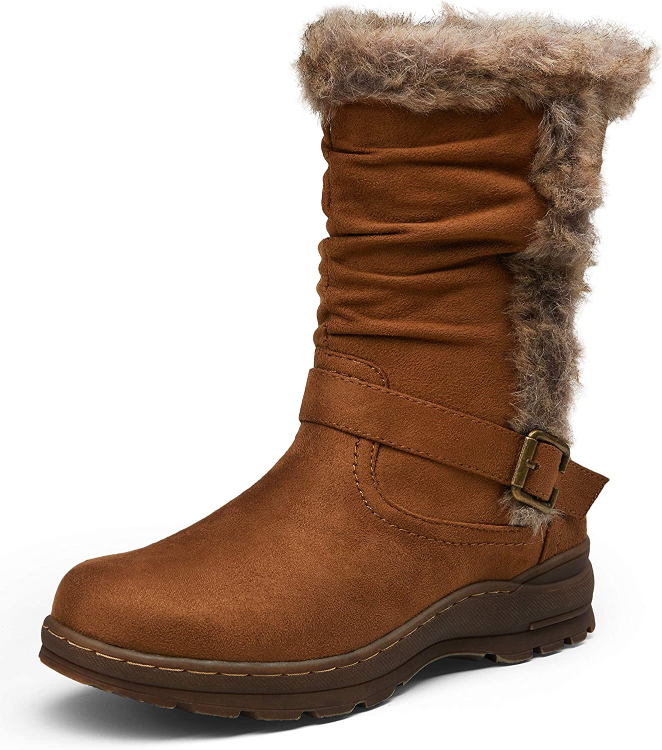 Vepose Women's Mid Calf Boots Suede Slouch Snow Booties Winter Shoes Outdoor