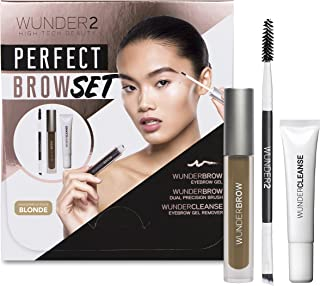 WUNDER2 PERFECT BROW SET- WunderBrow Eyebrow Gel, WunderCleanse & Dual Precision Brush, Blonde