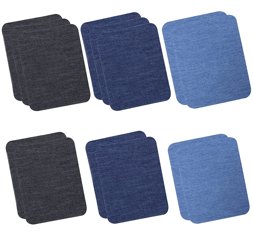Hibery 15 Pack Denim Iron On Patches Knee Patches for Jeans Clothing No-Sew Shades Blue Jean Patches (4.92'' x 3.74'')