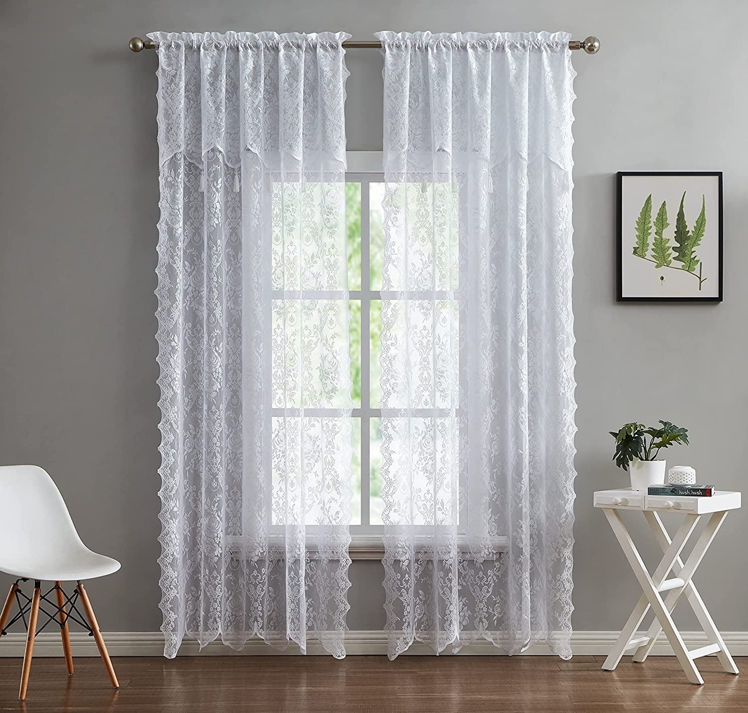 LinenZone - English Denver Mall Rose Store Design Semi Curtain Voile Lace Sheer