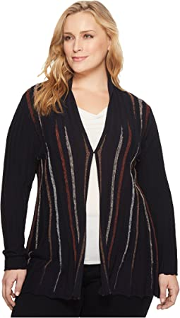 NIC+ZOE - Plus Size Black and Blue Cardy