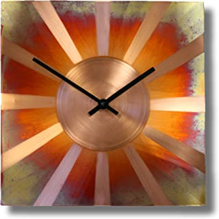12-inch Copper Square Decor Gift Wall Clock - Silent Non Ticking Gift for Home/Office/Kitchen/Bedroom/Living Room/7th Anniversary