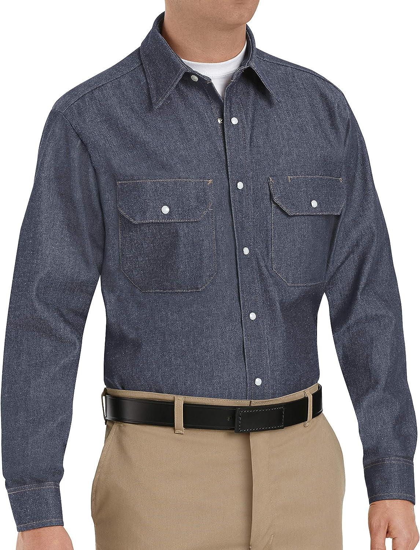Red Kap Men's DeluxeDenim Shirt, Denim, Long 2X-Large